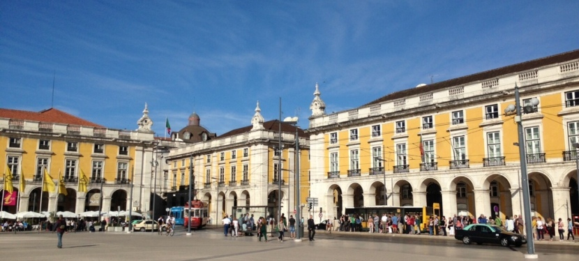 Praça de Comercio in a beautiful Sunday morning from an angle.