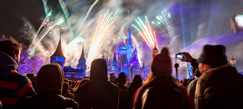 Crowd and Magical Fireworks